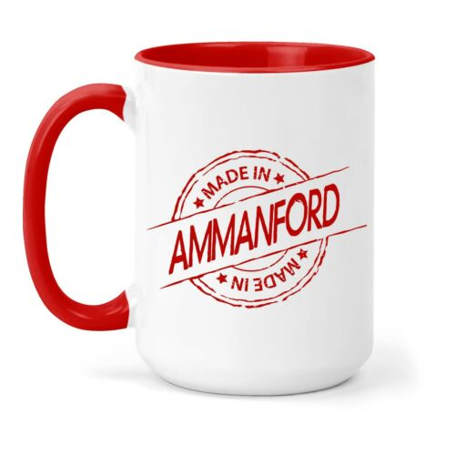 Made in Ammanford Mug in Different Colours Town Home Place Gift