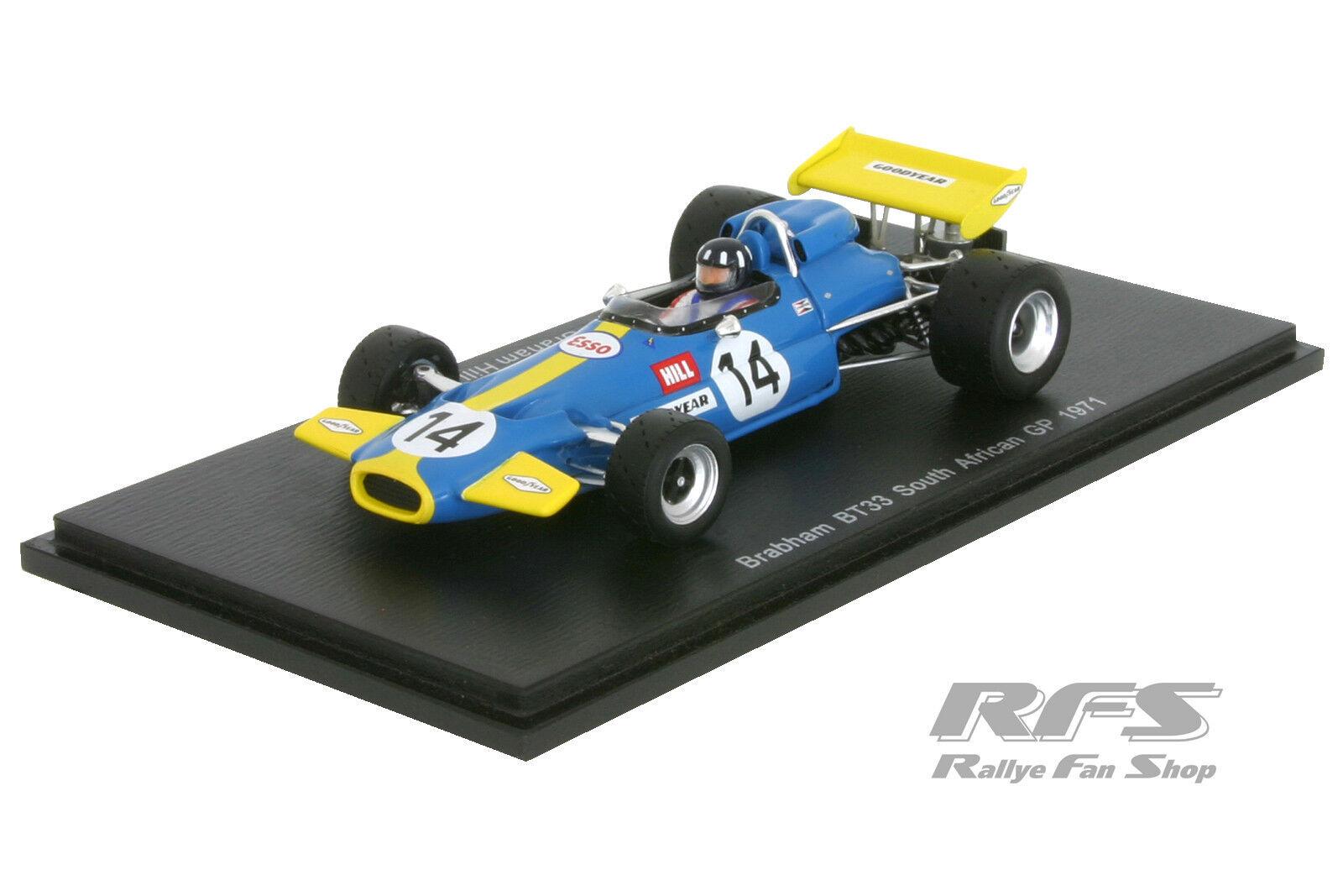 Brabham bt33 Ford-Formule 1 GP Afrique Afrique Afrique du sud 1971-Graham Hill - 1 43 spark 4338 007a2f
