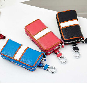 afa735ec77c1 Details about Men Women Zipper Genuine Leather Car Key Romote Bag Case  Keychain Wallet #B9