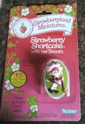 KENNER STRAWBERRYLAND MINIATURES STRAWBERRY SHORTCAKE WITH BROOM