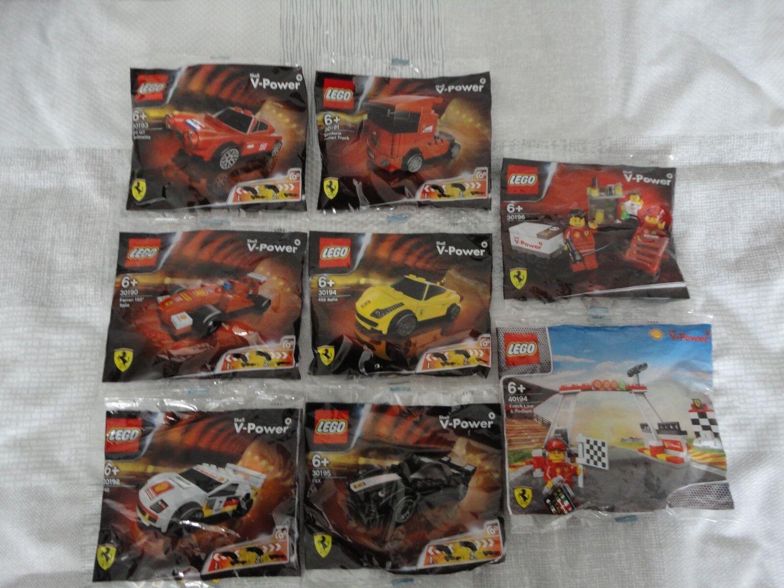 LEGO Shell Shell Shell V-Power Ferrari Full Set 6 Cars,Pit Crew & Gantry Polybags 30190-6 1ee8d9