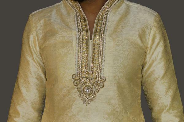 gold Brocade Kurta Sherwani with Collar and Chest embroidery detail