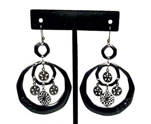 Black-Dangle-Hoop-Earrings-Lacquer-Filagree-Medallions-And-Rhinestones