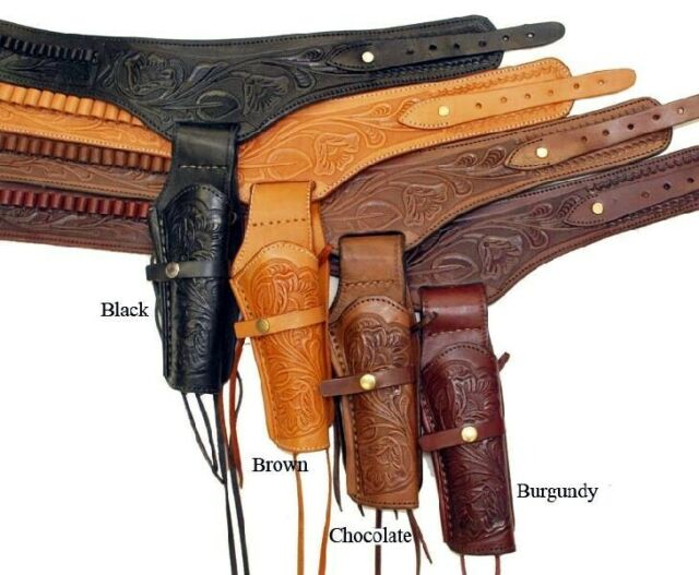 WESTERN COWBOY STYLE Black Brown Leather Kids DOUBLE HOLSTER PISTOL CASE S M L