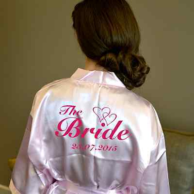 Personalised Heart Pink Wedding Robe & Dressing Gown | Brides & the Bridal Party