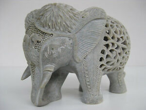 Stone-Elephant-6-034-Statue-Carved-figurine-unique-art