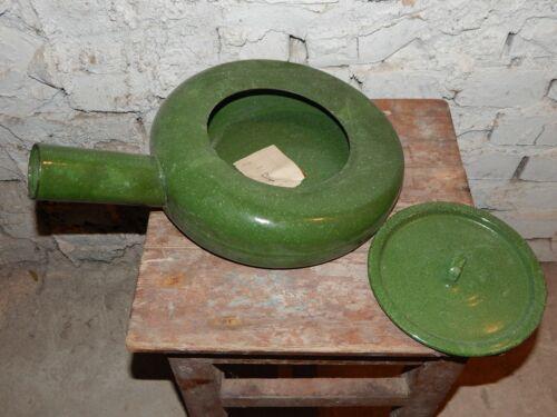 USSR Vintage Bedpan,Urinal,Metal Enamel,Green Splatterware,Medical,Decorative