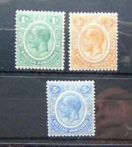 British-Honduras-1922-1933-1c-Green-3c-Orange-5c-Ultramarine-MM