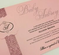20 Pink Elegant Girl Baby Shower Invitations With Beautiful Pink Glitter Band