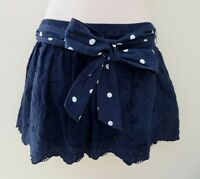 Hollister Womens Lace Mini Skirt Size Small Polka Dot Bow Belt Navy Blue