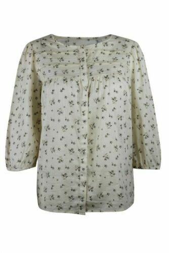 Womens Ladies Cream Meadow Ditsy Floral Cotton Pintuck Detail 3//4 Sleeve Shirt