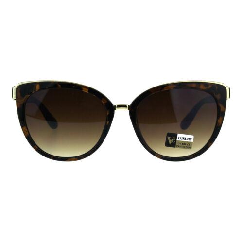 Womens Luxury Metal Brow Trim Oversize Cat Eye Designer Sunglasses