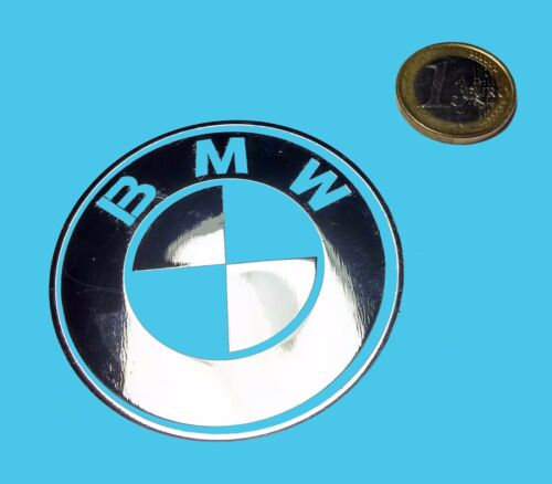 762 BMW METALLIC CHROME EFFECT STICKER LOGO AUFKLEBER 60mm