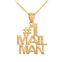 Fine 10k Yellow Gold Number 1 Mail Man Mailman Pendant Necklace