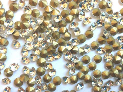 Glass Pointed Back Gold Rhinestone Crystal for Wedding Fashion Jewellery Decor
