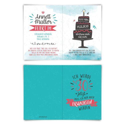 Geburtstag Einladungskarten individuelle Einladung Nur noch Erwachsen werden 30