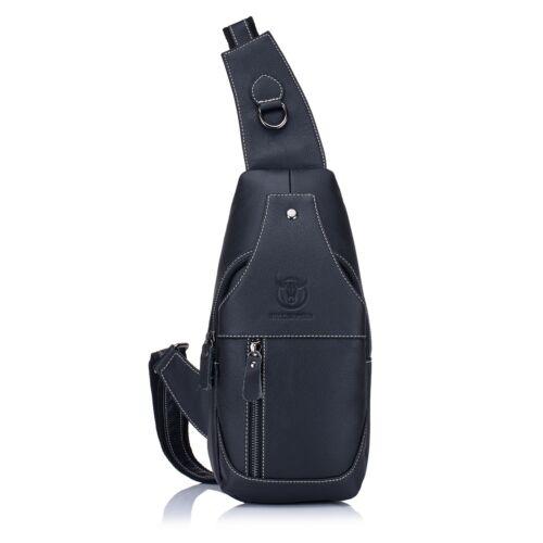 BULLCAPTAIN Men Messenger Bag Casual Genuine Leather Shoulder Travel Crossbody