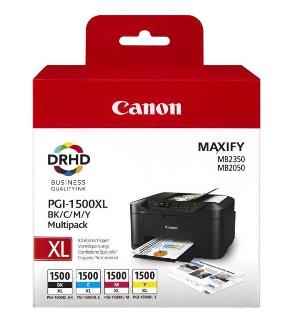 Canon PGI-1500XL (Rendement: 1,200 Noir/1,020 Cyan/780 Magenta/935 Jaune Pages)