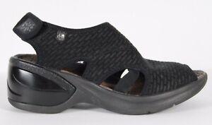 B-Zees-Women-039-s-Spirit-Mid-Heel-Wedge-Black-Sandals-Size-US-6-5