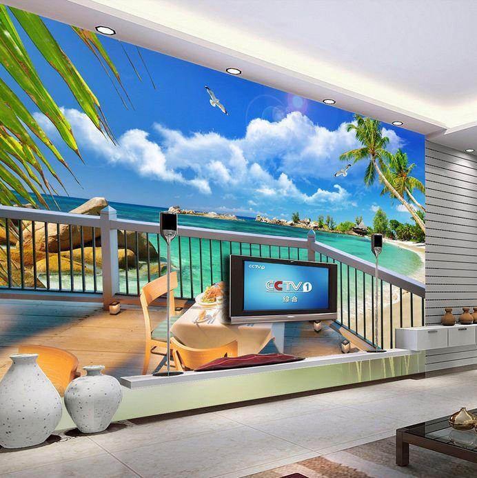 3D Hawaii beach tree 317 Paper Wall Print Decal Wall Wall Murals AJ WALLPAPER GB