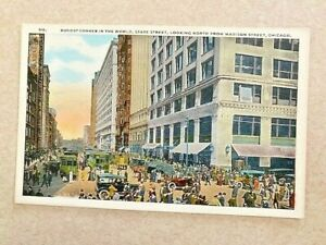 Vintage postcard Busiest Corner in the World State Street Madison Chicago IL
