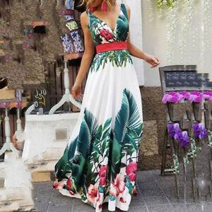 Fashion-Women-Summer-V-Neck-Sleeveless-Collect-Waist-Bohemian-Print-Maxi-Dress