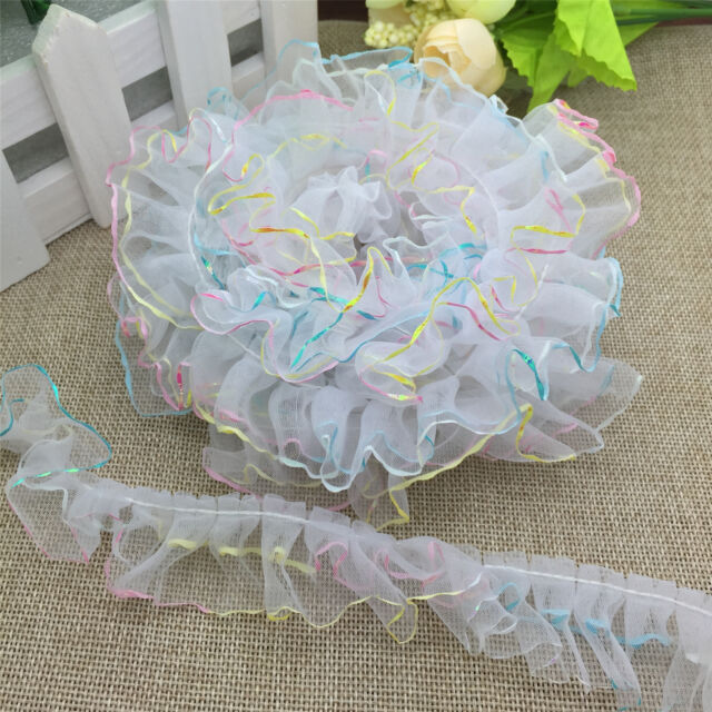 5 yards 2-Layer White Colorful edge organza Lace Gathered  Pleated Trim A05-1