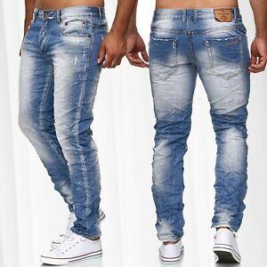 Hommes-froisses-Pantalon-Jeans-Vintage-Usage-Denim-Slim-Fit-Stone-Washed