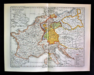 Cartina Geografica Europa Centrale.1902 Original Mappa Geografica Europa Centrale Al 1813 Mitteleuropa Meyers Ebay