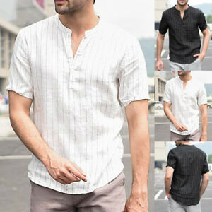 Summer Mens Long Sleeve Shirt Causal Holiday Linen T Shirt Party Beach Tops Tee