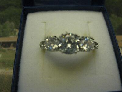 Damenring Silber Mit 3 Steinen Syntese Größe 10