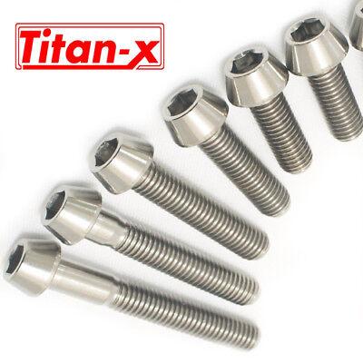 M10 x 50mm 1.25 Pitch Titanium Ti Bolt Taper Hex Allen Socket Head Screw GR5