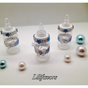 12 Fillable Baby Girl Shower Blue Butterfly Bottles Party Decoration for Boy