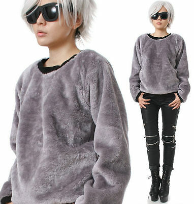RTBU Urban Punk Teddy Faux Fur Taro Purple Gray Velvet Furry Sweatshirt Jumper