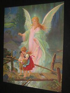 Guardian Angel Boy Girl On Scary Bridge 1930s 16 X 20 Religious