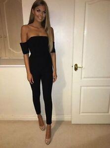 Black-Off-Shoulder-Bodycon-Jumpsuit-Catsuit-Maxi-Dress-UK-12-Brand-New
