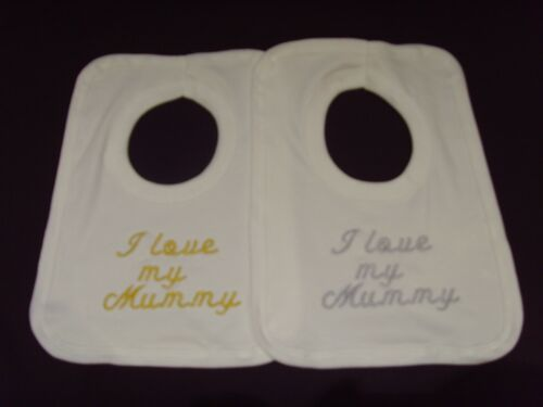 Funny Embroidered Personalised Bib Baby Shower Gift I love my Mummy