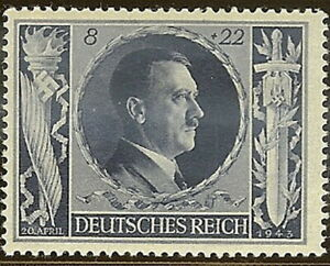 Stamp-Germany-Mi-846-Sc-B233-1943-WW2-Fascism-Hitler-Birthday-MNH