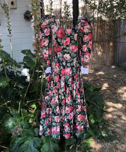 Vintage 1980's Cottagecore Dress rose print dress