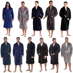 Mens Super Soft Fleece Dressing Gownbath Robe Black Blue Grey Green