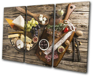 Cheese-Board-Grapes-Wood-Food-Kitchen-TREBLE-CANVAS-WALL-ART-Picture-Print