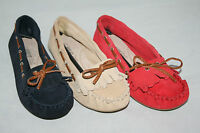 Ladies Wide Fit Shoes Suede Leather Moccasins NEW UK Sizes 3 - 6 Ex Store Womens