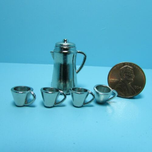Dollhouse Miniature Coffee Kettle Pot with 4 Cups in Stainless Steel ~ D2793