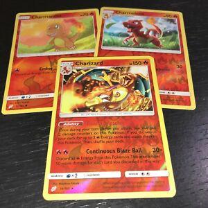 Pokemon-Charizard-Charmeleon-Charmander-3-Juego-de-Tarjetas-inversa-Holo-SM-equipo