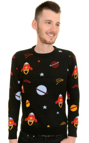 Run and Fly Space Rocket Jumper Sweater 70s Unisex Black Geeky Quirky