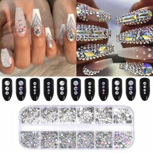 460-Pcs-AB-Color-Clear-Nail-Art-Rhinestone-Flat-Bottom-Multi-size-3D-Decor-Tools