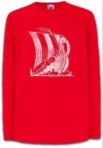VIKING-SHIP-V-Kinder-Langarm-T-Shirt-Runes-Vikings-Dragon-Wikinger-Drachenschiff