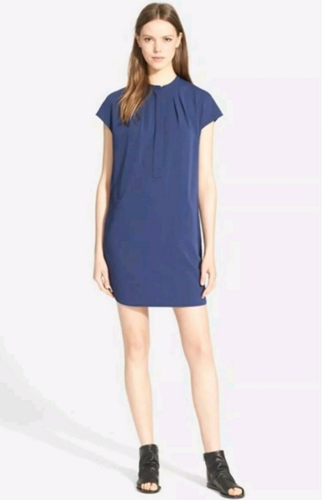 VINCE Popover Cap Sleeve Shirt Dress Tunic Solid bluee Size XS