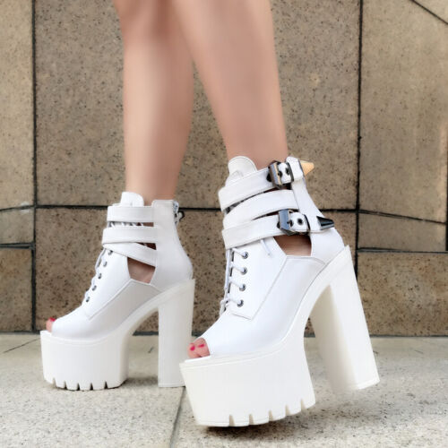 New Womens 15CM Super High Heel Platform Motorcycle Sandal Buckle Open Toe Shoes