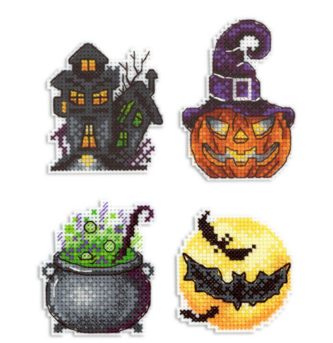 cross stitch on plastic canvas with magnets DIY Set of 4 Halloween Craft kit